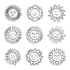 Sketch sun kids drawing, Hand drawn sunshine icons. Funny doodle suns, Drawing happy face icon. Vector illustration
