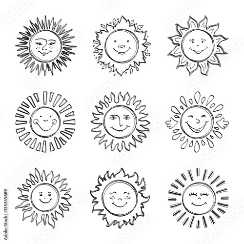 sketch sun kids drawing hand drawn sunshine icons funny doodle suns drawing happy - Kids Drawing Sketch