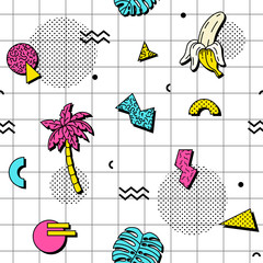 Seamless pattern with tropical leaves, bananas and palm trees in retro funky style