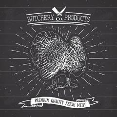 Butcher Shop vintage emblem turkey meat products, butchery Logo template retro style. Vintage Design for Logotype, Label, Badge and brand design. vector illustration on chalkboard