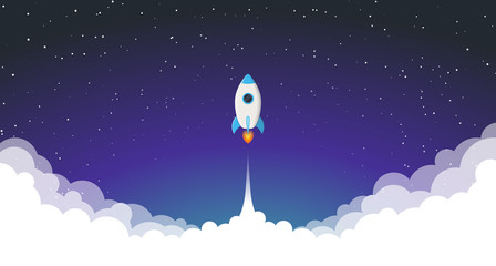 Space rocket launch. Vector illustration Wall mural