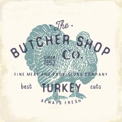 Butcher Shop vintage emblem turkey meat products, butchery Logo template retro style. Vintage Design for Logotype, Label, Badge and brand design. vector illustration.