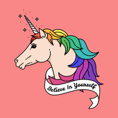 Poster with unicorn. Vector illustration with quote
