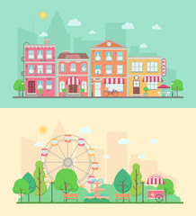 Amusement park and city landscapes
