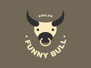 Bull logo - vector illustration, emblem design on dark background