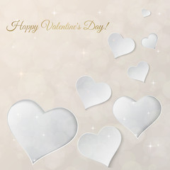 Bright Valentine`s day vector  background. Sparkling paper heart