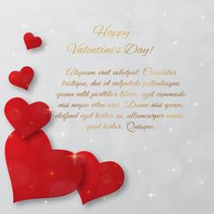 Bright Valentine`s day vector  background. Sparkling paper heart