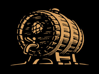 Wooden beer barrel - vector illustration, design on black background