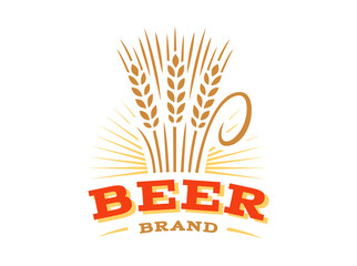 Beer wheat logo - vector illustration, ear emblem design on white background