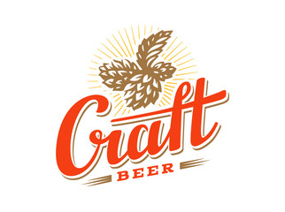 Craft beer logo- vector illustration hop, emblem design on white background