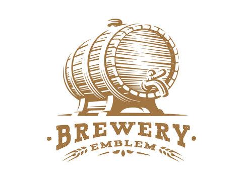 Wooden beer barrel logo - vector illustration, emblem brewery design on white background