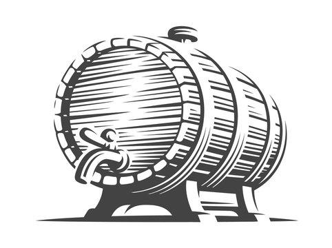 Wooden beer barrel - vector illustration, design on white background