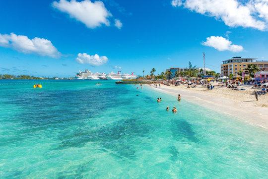 Junkanoo Beach vista views of beach and Nassau cruise port in Bahamas