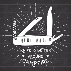 Vintage label, Hand drawn Multifunctional pocket knife, grunge textured hiking and camping equipment tool, retro badge or T-shirt typography design with sunrays, vector illustration on chalkboard.