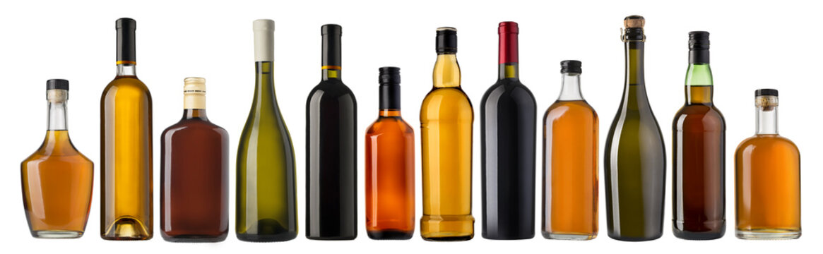 Set of wine and brandy bottles