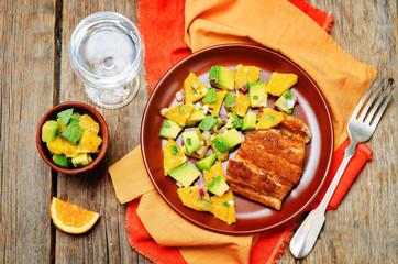Honey soy baked cod with avocado orange salsa