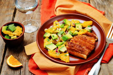 Honey soy baked cod with avocado orange salsa