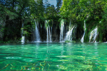 Wall Murals Waterfalls Waterfalls With Clear Green Water on Plitvice Lakes