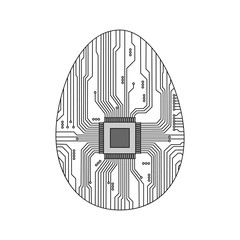 Abstract egg. Egg in an electronic circuit. Vector illustration.