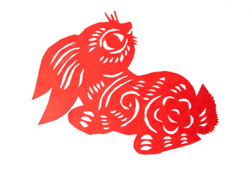 Red Chinese paper cut bunny shape
