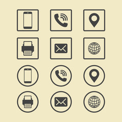 Business Card Icon Set. Web Icons.