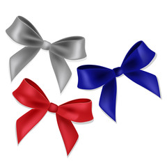 Blue, red and silver ribbons and bows.