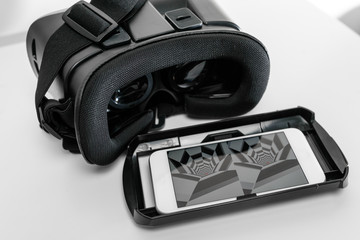 VR glasses and smartphone, isolated on white background
