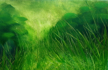 wild meadow grass structure in bright green tones, painting detail.