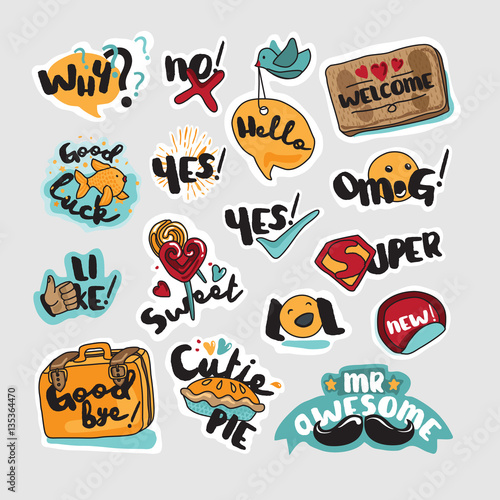 The Social Network How Everyday >> Set Of Stickers And Signs For Everyday Communication Vector