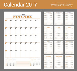 Calendar Template for 2017 Year. Set of 12 Months. Business Planner Template. Stationery Design. Week starts Sunday. 3 Months on the Page. Vector Illustration