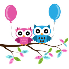 Owl boy and girl on a branch with air balloons
