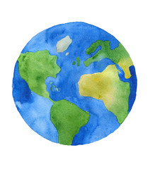 Watercolor planet Earth. West part^ America, Africa, Europe and Oceans.