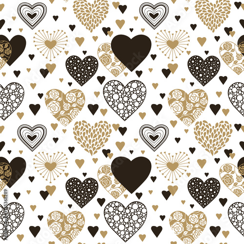 Cute Hearts Seamless Background Valentines Day Ornament Black And