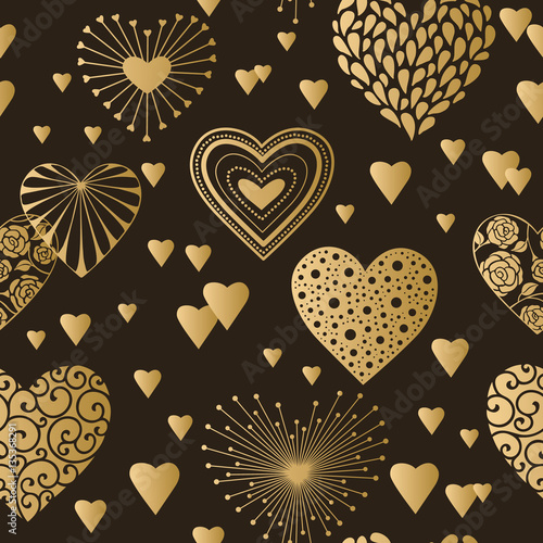Valentines Day Ornament Golden On Black Romantic Tiled Pattern For