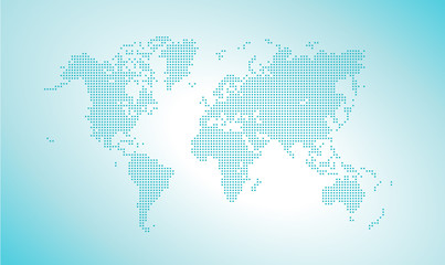Vector dotted world map. Vector illustration template for website design, annual reports, infographics, business presentations, printed material, travel and tourism banners and promotional material.