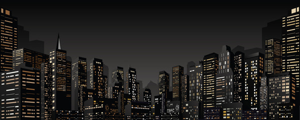 Cityscape with Group of Skyscrapers. Vector Banner Fotobehang
