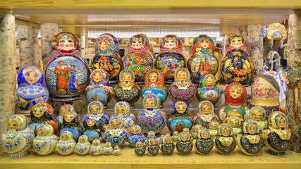 Bright traditional Russian souvenir - Matryoshka. Saint Petersburg