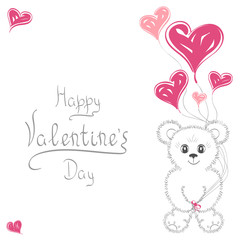 Abstract background. Cute teddy bear with balloons in the form of heart. For wedding invitations, the date, Valentine's Day. It can be used as greeting card, poster, banner, template, postcard.