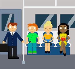 Subway scene with crowd