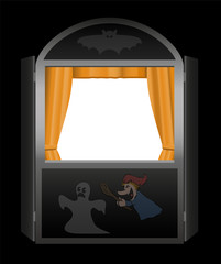 Puppet show booth with empty viewing window - spooky halloween version - black background.