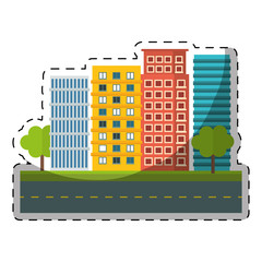 colorful city scene and building with trees line sticker image