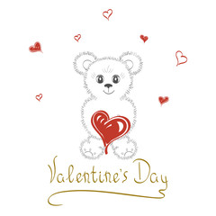 Abstract background. Cute teddy bear with a heart. Romantic love cards for wedding, Valentine's Day, date. It can be used as greeting card, poster, banner, template, invitations.