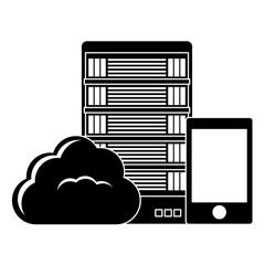 black database hosting and tuning smartphone image, vector illustration