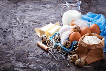 Ingredients for baking Easter cake. Milk, butter, eggs, flour