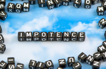 The word Impotence on the sky background