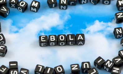 The word Ebola on the sky background