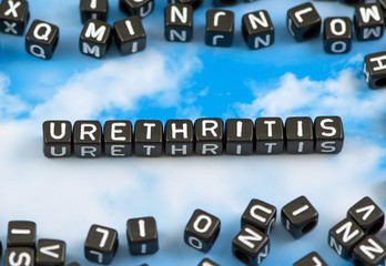 The word urethritis on the sky background