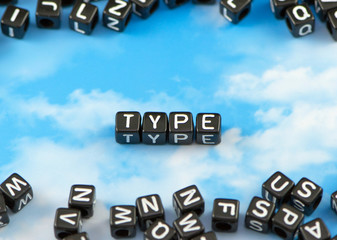 The word type on the sky background