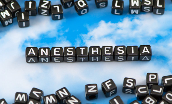 The word Anesthesia on the sky background