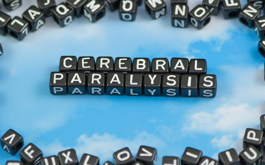 The word Cerebral paralysis on the sky background